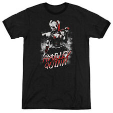 Batman Arkham Knight Quinn City Mens Adult Heather Ringer Shirt Black