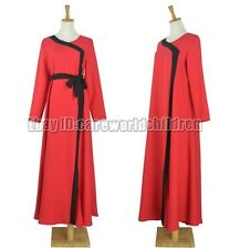 Muslim Women Elegant Red Dress Abaya Arabic Islamic Clothing Muslim Abaya Dress