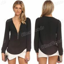 Fashion NEW Women's  V Neck Blouse Blouse Lady T Shirt  Long Sleeve Chiffon Tops