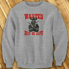 WANTED DEAD OR ALIVE OUTLAW WESTERN COWBOY HUNTER Mens Gray Sweatshirt