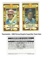 1982 Perma-Graphic Superstar Credit Cards Baseball Set ** Pick Your Team **