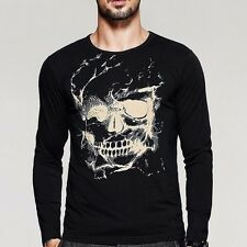 Handsome Mens Casual T-Shirt Round Neck Long Sleeve Skull Print Black Tee XL 2XL