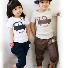 Unisex Baby Girls Kids Car Letter Crew Neck T-shirt Tops Tee Pants Trousers Cute
