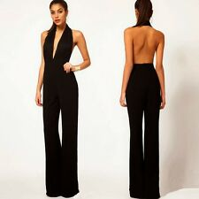 Lace Halter Plunging Neckline Backless Womens Jumpsuits Overalls Trousers Pants