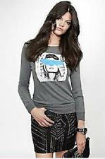 NEW WOMENS GUESS LONG SLEEVE FACE PAINTED MODEL GRAY SWEATER TOP