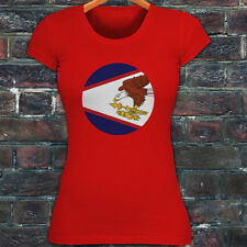 AMERICAN SAMOA FLAG CIRCLE PRIDE PROUD BALD EAGLE Womens Red T-Shirt