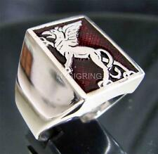 RECTANGLE SILVER SIGNET RING GRIFFIN GRIFFON GRYPHON MEDIEVAL DARK RED ANY SIZE