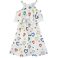 Girls Dress Colorful Heart Print Cold Shoulder Party Dress Size 4-12