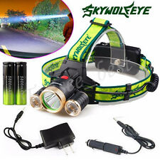 10000 Lumen CREE XM-L 3 x T6 LED Headlight Headlamp 18650 Light+Charger+Battery