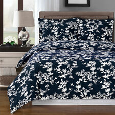 8PC Lucy Navy/white Cotton Bed in a Bag Set- Duvet Set-Sheets & White Comforter