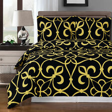 8PC Victoria Bronze/Black Bed in a Bag Set- Duvet Set-Sheets & White Comforter