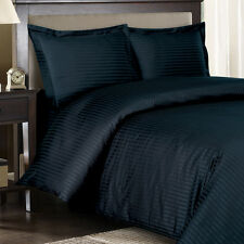 8PC Striped 300TC Navy Bed in a Bag Set- Duvet Set-Sheets & White Comforter