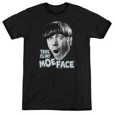 Three Stooges Moe Face Mens Adult Heather Ringer Shirt Black
