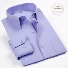 Handsome Cotton Mens Long Sleeve Solid No-iron Business Casual Dress Shirt 37~44