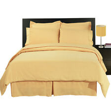 8PC Microfiber Gold White Bed in a Bag Set- Duvet Set-Sheets & White Comforter