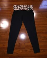 Victoria's Secret PINK Fold Over Yoga Pants Leggings Animal Small Black Jewels
