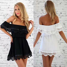 Sexy Women Lace Backless Off Shoulder Night Club Cocktail Party Mini Dress S-XXL
