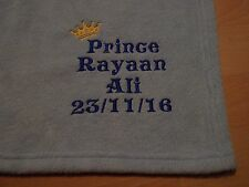 PERSONALISED BABY PRINCE PRINCESS FLEECE BLANKET EMBROIDERED NEWBORN GIFT NAME