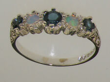 925 Sterling Silver Natural London Blue Topaz & Opal Womens Band Ring