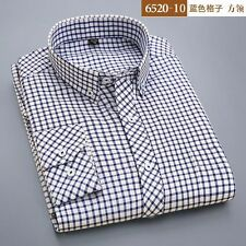 New Mens 100% Cotton Oxford Long Sleeve Plaid Business Casual Dress Shirt 38~44