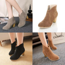 New European Fashion Round Toe Martin Boots Zipper Ankle Women High-heeled Boots