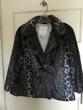 KATE SPADE AMELLIA FAUX FUR SNOW LEOPARD GREY LUX COAT JACKET NWOT  M  8/10
