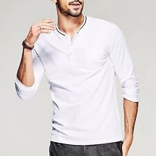 Slim Mens Basic Tee Shirt Placket collar Long Sleeve Fitted T-shirt White M~2XL