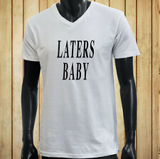 LATERS, BABY 50 SHADES OF GREY DARKER LOVE LUST Mens White V-Neck T-Shirt