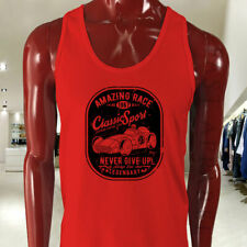 VINTAGE SPORT CAR RACING CLASSIC SPEED LEGENDARY Mens Red Tank Top