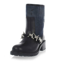 DSQUARED2 New women Blue black Leather babe wire Denim boot Shoes Made in Italy