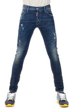 DSQUARED2 Dsquared² New Men Jeans Denim Blue STRETCH Destroyed  Made  Italy