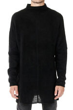 RICK OWENS Man Black High Collar Sweater Made in Italy
