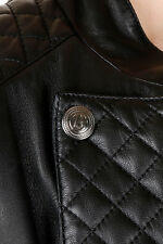 PIERRE BALMAIN Women Leather Jacket Black Coat Buttons details Long Sleeve NWT