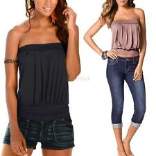 Women Summer Strapless Casual Tank Top Backless Clubwear Bustier Tube Top Blouse