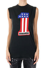 DSQUARED2 Dsquared² ICON Women Printed LONG COOL TWISTED T-SHIRT Italy Made