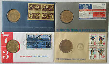 [4] 1972, 1973, 1974, 1975 Bicentennial FDC with Commemorative Coins; excellent