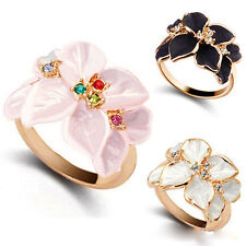 Elegant Women Trendy Enamel Flower Resin Gold Alloy Lady Charms Ring Jewelry New