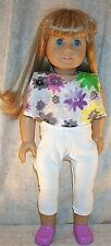"Doll Clothes American Girl 18 ""inch Spring 2004 Leggings 2pc Floral White Lilac"