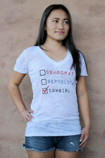 Original Cowgirl Clothing Democrat Republican Cowgirl Voting Shirt V-Neck Sm-2XL