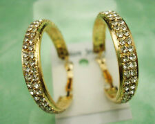 Lots 12Pairs 3cm 2Rows Side Golden Round Crystal Rhinestone Earrings