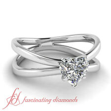 .60 Ct Heart Shaped H-Color Diamond Solitaire Butterfly Engagement Ring 14K GIA