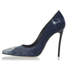 DSQUARED2 D2 New Woman Blue Stiletto Heel Pump Shoes Denim Leather Made Italy