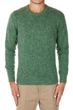 HERITAGE New Men Green Round Neck Virgin Wool Blend Sweater Made Italy NWT