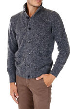 HERITAGE New Men blue Virgin Wool Blend Pockets Turtleneck Sweater Cardigan