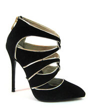 "Highest Heel Womens 4.5"" Micro Heel Ankle Pump Black Suede PU Shoes"