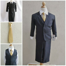 Black teen toddler boy formal suit with gold long tie wedding graduation party