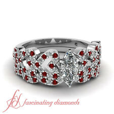 1 Ct Marquise Cut E-Color Diamond & Ruby Bridal Rings Heart Style Micro Pave Set