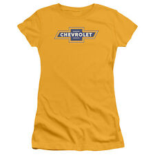 Chevy Blue And Gold Vintage Bowtie Juniors Short Sleeve Shirt Gold