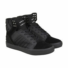Supra Skytop Evo Mens Black Suede High Top Lace Up Sneakers Shoes