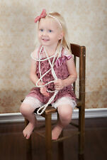 Baby Girls Dusty Pink White Lace Petti Rompers Romper Straps Bow NB-3T RSZ12